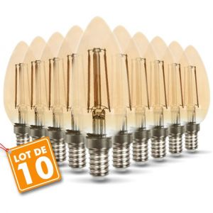 Eclairage design Lot de 10 Ampoules LED E14 ambrée 4W eq 40W 350lm | blanc-chaud-2200k