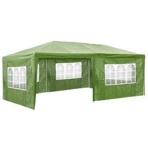 TecTake Pavillon de jardin vert avec 5 panneaux latéraux