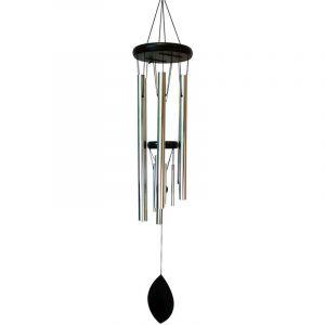 Sud trading Carillon déco feuille en métal - H. 90 cm - Noir