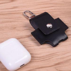WeWoo Etui Casque / Ecouteurs noir pour Apple AirPods Creative sans fil Bluetooth écouteurs PU en cuir sac de protection Anti perte de rangement avec crochet n'est pas inclus