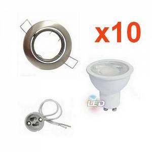 Silamp Kit Spot LED GU10 Encastrable Orientable 8W Rond Inox (Pack de 10) - Blanc Chaud 2300K - 3500K