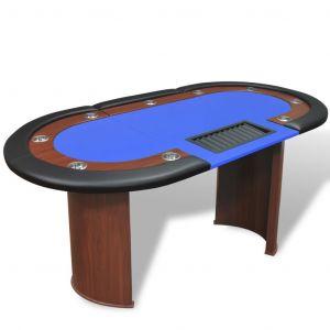 VidaXL Table de poker pour 10 joueurs avec espace de croupier Bleu