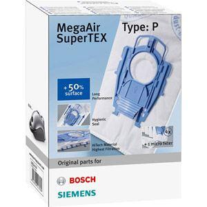 Bosch BBZ41FP - 4 sacs + 1 filtre MegaAir SuperTex Type P pour aspirateurs BSG8 / VS08