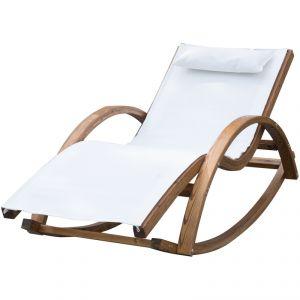 Outsunny 840-015CW - Chaise longue à bascule en bois