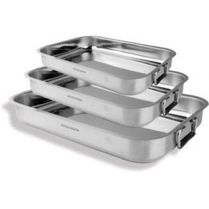Arthur Martin Batterie de cuisine de 3 plats à four inox