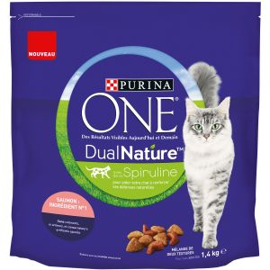 Purina 1,4kg Dual Nature saumon ONE - Croquettes pour chat
