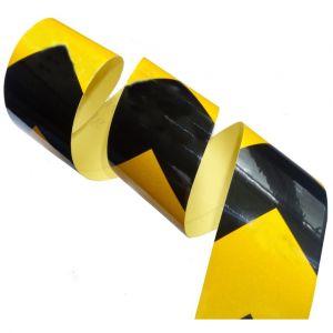 Aerzetix 4.5m 5cm Bande noir/jaune flèche adhésive de marquage réfléchissante retroréfléchissante