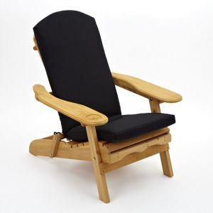 Trueshopping Coussin pour fauteuil d'extérieur 'Adirondack' en noir (Coussin Seulement)