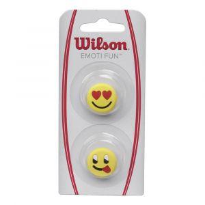 Wilson Anti-Vibrateurs pour Raquette Emoti-Fun Lot DE 2 Style Émoticône Amoureux/Grimace Jaune WRZ538400