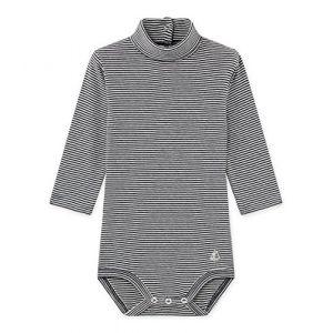 Petit Bateau BODIES ML A COL Body Bébé garçon Noir (Smoking/Marshmallow 01) 6-9 mois (Taille fabricant: 6M 6 MOIS)