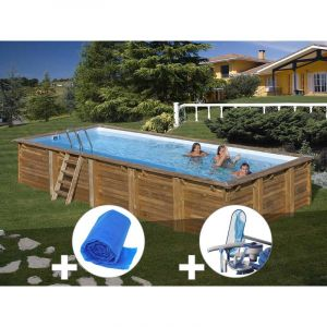 Sunbay Kit piscine bois Braga 8,00 x 4,00 x 1,46 m + Bâche à bulles + Kit d'entretien