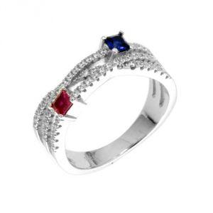 Blue Pearls Cry J412 X - Bague en argent et 54 cristaux Swarovski