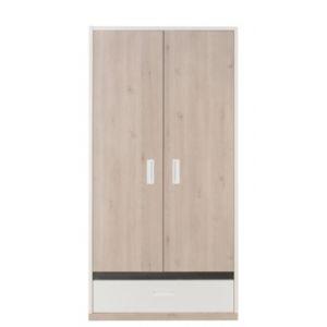 caf2a84fc86fd GAMI Armoire penderie avec tablettes amovibles 2 portes + 1 tiroir en bois  H200 cm TIAGO