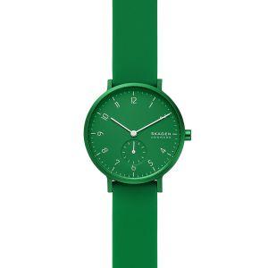 SKAGEN Montre Aaren Kulor pour Femme avec Bracelet en Silicone Vert, 36 mm - SKW2804
