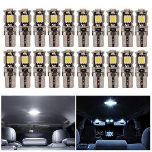 XC Source 20pcs Led Ampoule Voiture Interieur Lumiere T10 W5w 5-Smd 5050 Super Lumineux 194 168 Ampoule Remplacement Cale Lampe Lecture Ma1312