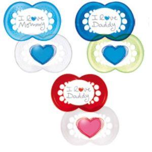 Mam 2 sucettes Decor Coeur en silicone (6 mois +) + boîte de stérilisation