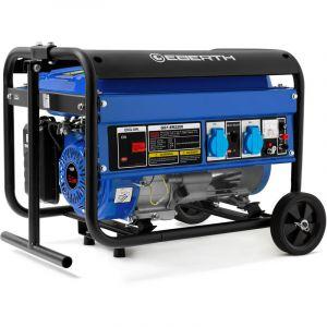 Eberth 2200 Watt Générateur électrique (Châssis, 5,5 CV Moteur à essence 4 temps, Refroidi à lair, 2x 230V, 1x 12V, Régulateur de tension automatique AVR, Alarme manque dhuile, Voltmètre)