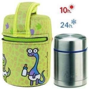 Laken Lunch Box isotherme inox avec housse verte et bébés dinosaures, 0,5L