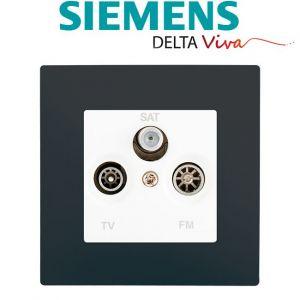 Siemens Prise TV FM SAT Blanc Delta Viva + Plaque Anthracite