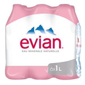 Evian Eau minérale naturelle - Les 6 bouteilles de 1L