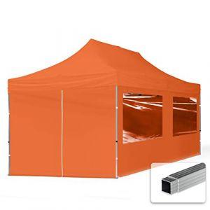 Intent24 TOOLPORT Tente Pliante 3x6 m - 4 côtés Aluminium Barnum Chapiteau Pliant Tonnelle Stand Paddock Réception Abri PES300 Orange
