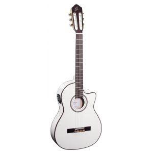 Ortega RCE145WH Guitare de concert avec housse Egalisateur plus tuner Ligne étroite Table épicéa massive Blanc