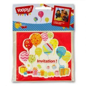 Yoopy 6 cartons d'invitation Ballons