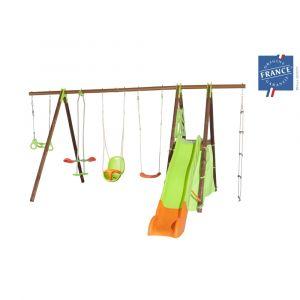 Trigano Portique 2,30 m bois-métal trapèze, cabane, siège bébé pour 9 enfants