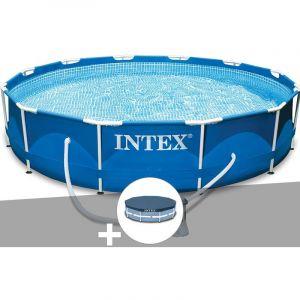 Intex Kit piscine tubulaire Metal Frame ronde 3,66 x 0,76 m + Bâche de protection