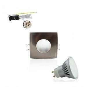 Superled Kit Spot LED GU10 étanche 6W carré aluminium lumière 50W blanc neutre