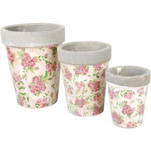 Esschert design Lot de 3 pots de fleurs ronds Les Roses