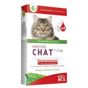 Vetobiol Pipettes antiparasitaires chat 1 à 5kg (4pipettes)