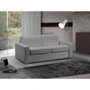 INSIDE Canapé lit 3 places MASTER convertible système RAPIDO 140 cm Cuir Eco Gris Silex MATELAS 18 CM INCLUS