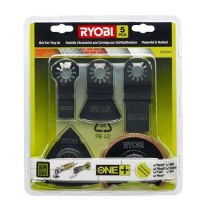 Ryobi Kit spécial carrelage Multitool 5 pieces - Incluant: spatule-grattoir,triangle carbure,mortier,époxy,lame carbure,joint de carrelage,2 lames plongeantes.