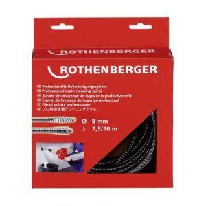 Rothenberger Spirale de nettoyage de tuyaux standard, &Oslash de spirale : 8 mm, Long. 7,5 m, Epaisseur du &Oslash du fil 2,0 mm -