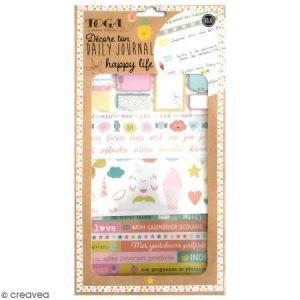 Toga Happy Life Kit Accessoires Bullet Journal, Papier/Plastique, Rose-Jaune-Bleu-Orange, Pack : 15,8x30,5cm