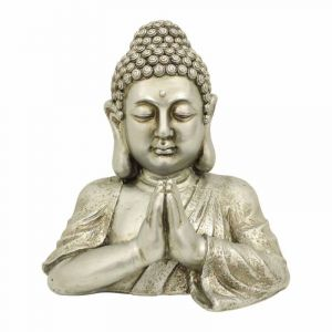 """Statue Déco Bouddha """"Buste"""" 40cm Argent Prix"""