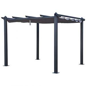 Happy Garden Pergola autoportante 3×3m CASSIS grise - structure aluminium