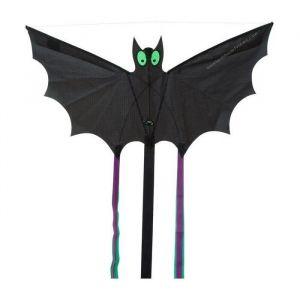 HQ Cerfs-Volants Monofils Bat Noir L - Cerf-volant Monofils Batnoir, ligne polyester 10kg - 25m, structure fibre de verre 1.5 +2mm, tissu polyester, avec poignée et fil, dimensions 60 cm x 30cm.