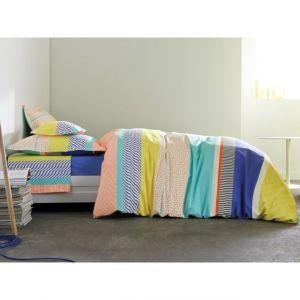 Blanc des vosges Housse de couette 100% percale de coton patchwork motif géométrique multicolore ST MALO Bleu Royal 260x240cm