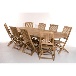 Table de jardin ovale en teck massif 200 300 x 120 x 75 cm a0557ee4a003