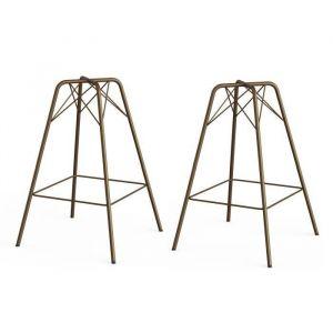 Lot de 2 tabourets de bar en acier laqué bronze - Revetement tissu 100% polyester noir - Style contemporain - L 45 x P 45 cm - Acier laqué bronze - Revêtement tissu 100% polyester noir - L 38 x P 38 cm - Lot de 2