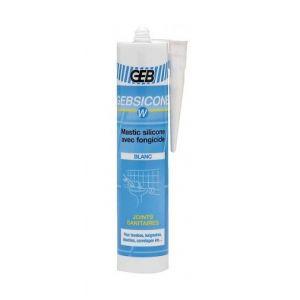Geb Mastic silicone sanitaire blanc (cartouche 310ml) : 893150