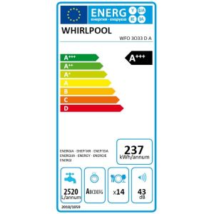 Whirlpool WFO3O33DA - Lave-vaisselle 14 couverts
