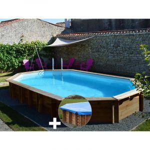 Sunbay Kit piscine bois Safran 6,37 x 4,12 x 1,33 m + Bâche hiver