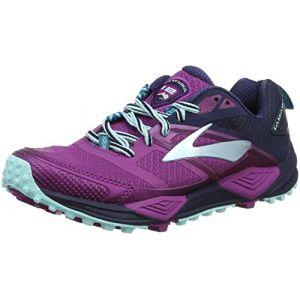 Brooks Cascadia 12, Chaussures de Trail Femme, Multicolore (Plum/Navy/Ice Blue 1b533), 38 EU