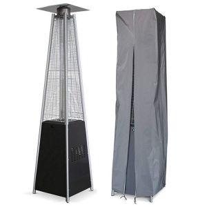 Proweltek Parasol chauffant PYRAMIDE 14 KW INTEC Allumage électronique - Housse de protection Chauffage extérieur et éclairage de terrasse