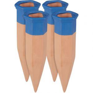 Relaxdays Cône en argile d'arrosage, lot de 4 accessoire d'arrosage plantes, Bouteilles d'1,5 L, 19 cm, terre cuite/bleu