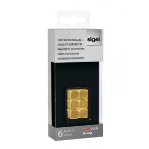 Sigel GL717 - Lot de 6 plots magnétiques Superdym C5 Strong, 1x1x1 cm, or