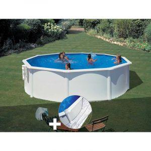 Gre Kit piscine acier blanc Bora Bora ronde 3,70 x 1,22 m + Tapis de sol